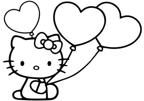 480x339 Hello Kitty With Heart Balloons Coloring Page Free Printable