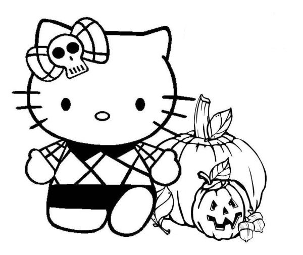 600x505 Halloween Hello Kitty Coloring Pages Printable To Tiny Page