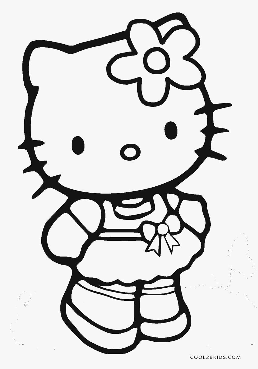 850x1216 Hello Kitty Coloring Page