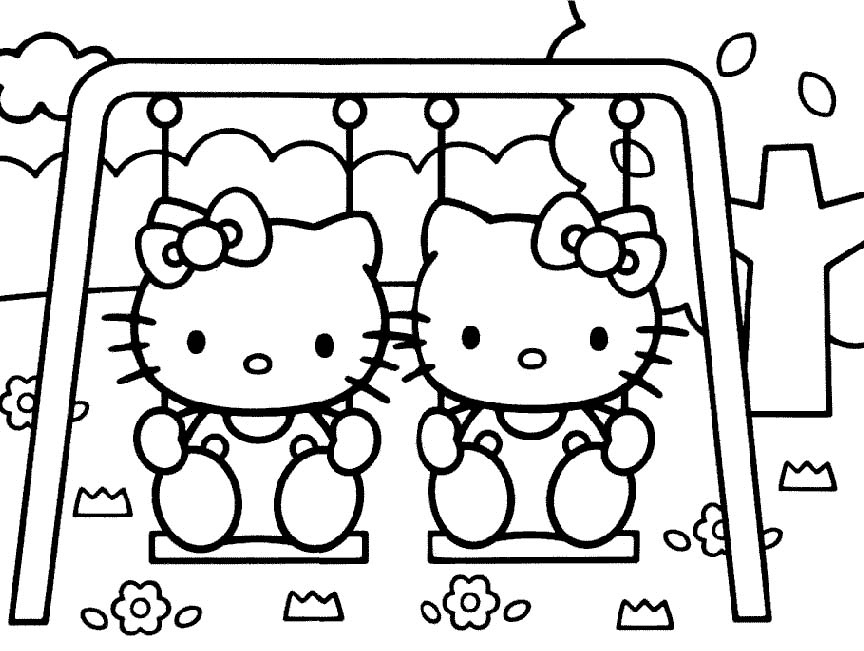 864x651 I Have Download Two Hello Kitty Play Swing Coloring Page