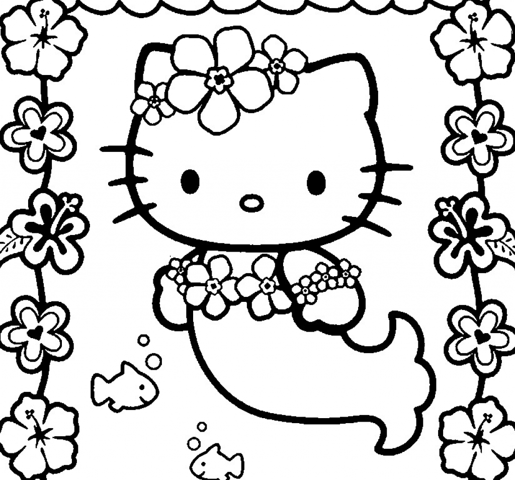 1024x954 hello kitty mermaid coloring pages in on
