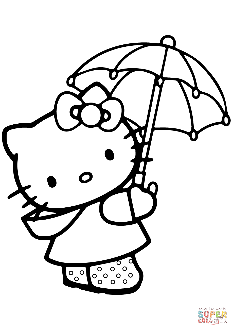 919x1300 Lovely Hello Kitty Under The Umbrella Coloring Page Free