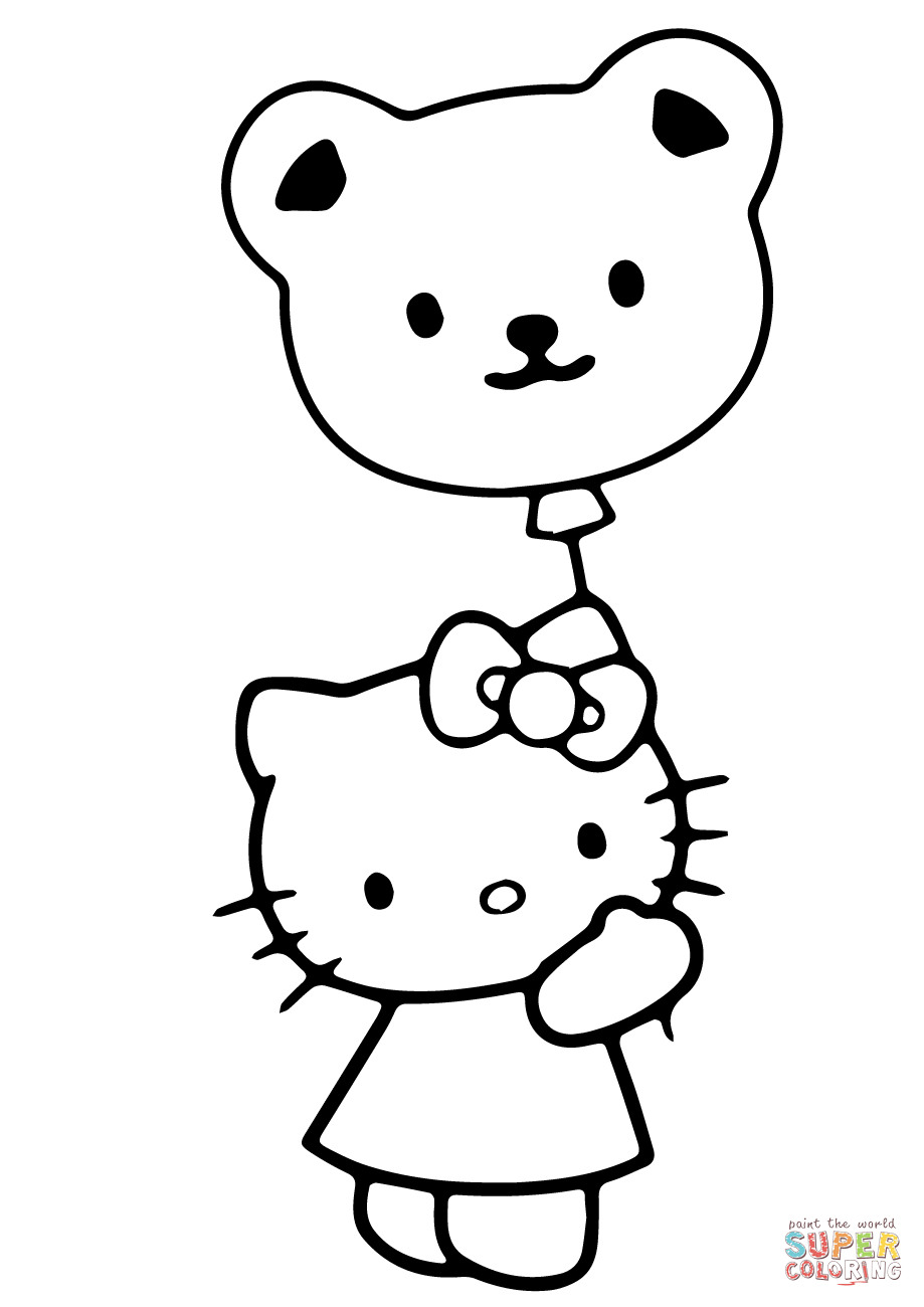 919x1300 Hello Kitty With Valentine Balloon Coloring Page Free Printable