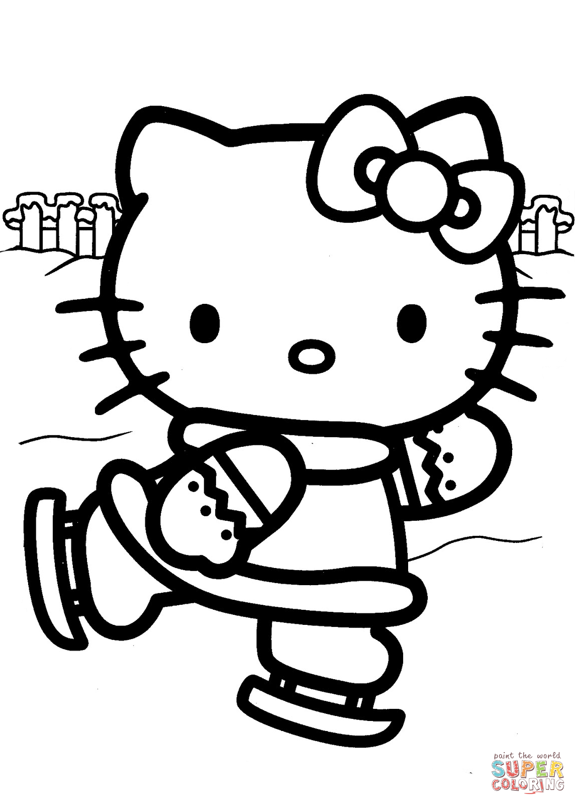 1146x1600 Hello Kitty Ice Skating Coloring Page Free Printable Pages