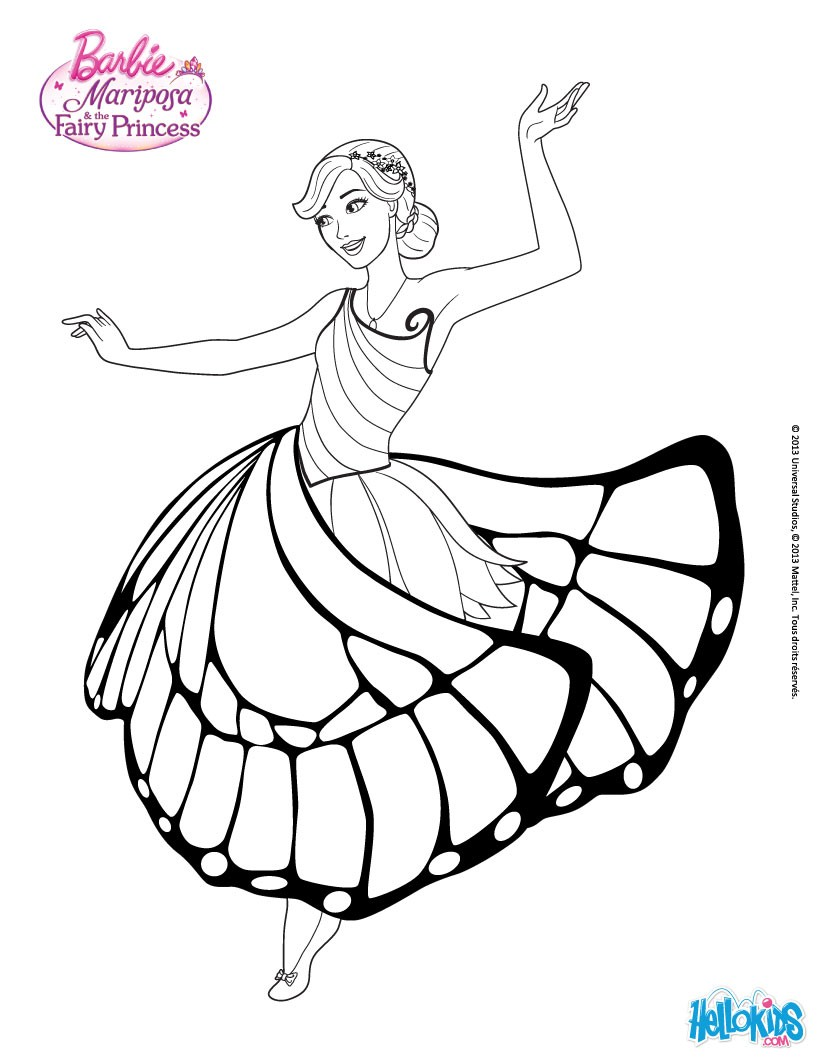 820x1060 Mariposa In A Nice Dress Coloring Page. More Barbie Mariposa