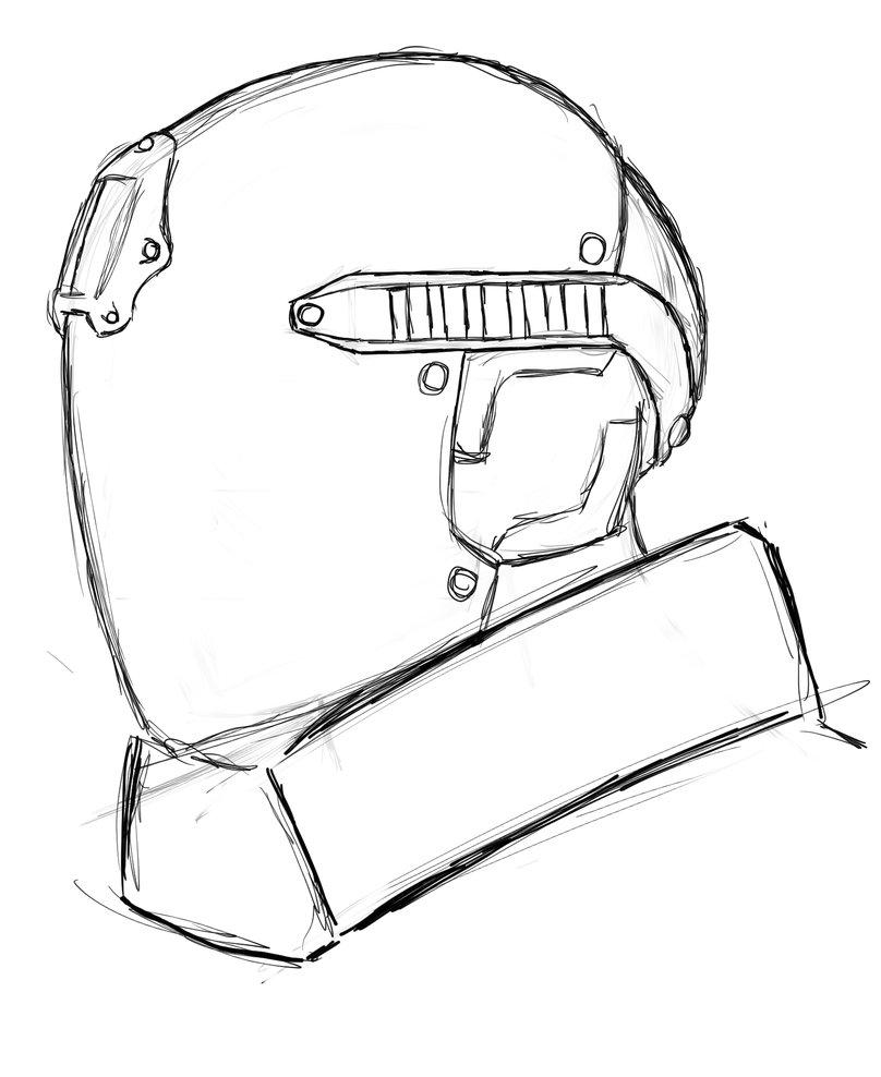 808x988 Futuristic Tactical Helmet, Sketch 1 By J3f3r20n