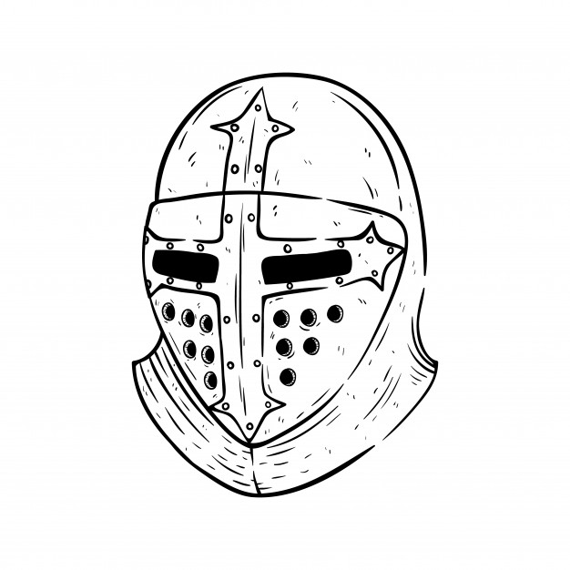 626x626 Helmet Of Gladiator With Sketch Or Hand Drawn Style On White