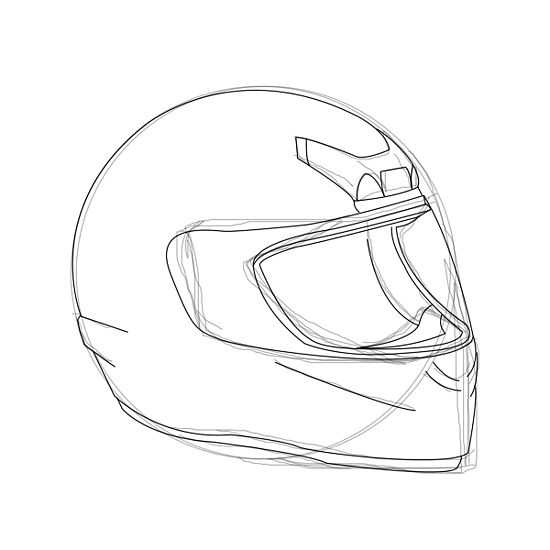 550x550 How To Draw A Motorcycle Helmet 6 Steps (With Pictures) Art