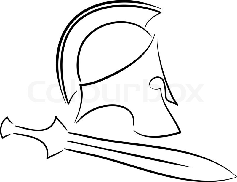 800x614 Sketch Of Ancient Helmet With Sword. Raster Version Stock Photo