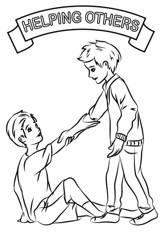 339x480 Helping Each Other Coloring Page Free Printable Pages