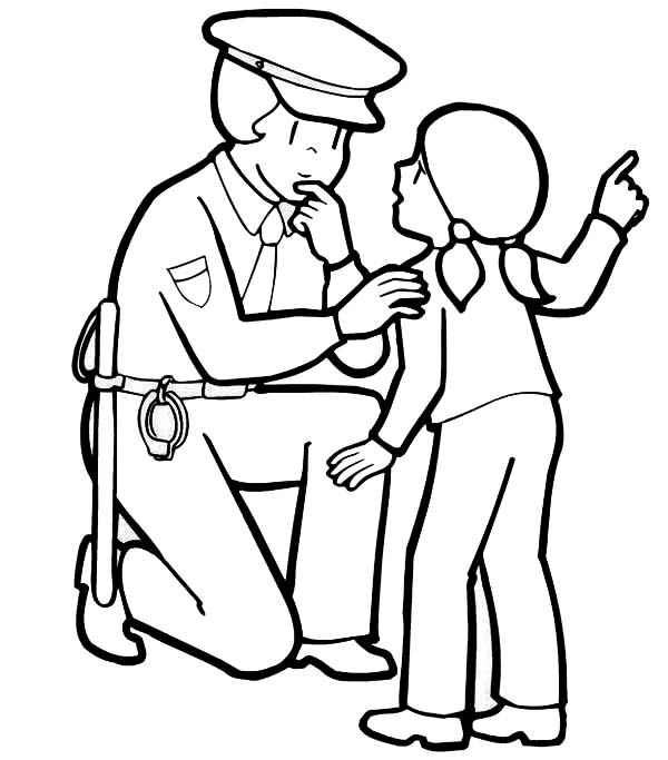 600x683 Police Officer Helping A Little Lost Girl Coloring Page
