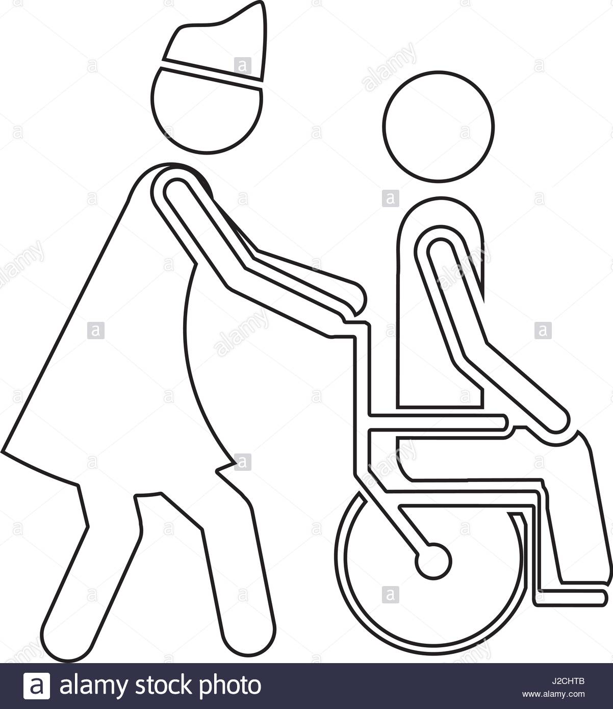 1202x1390 Silhouette Nurse Helping Another Person Push A Wheelchair Stock