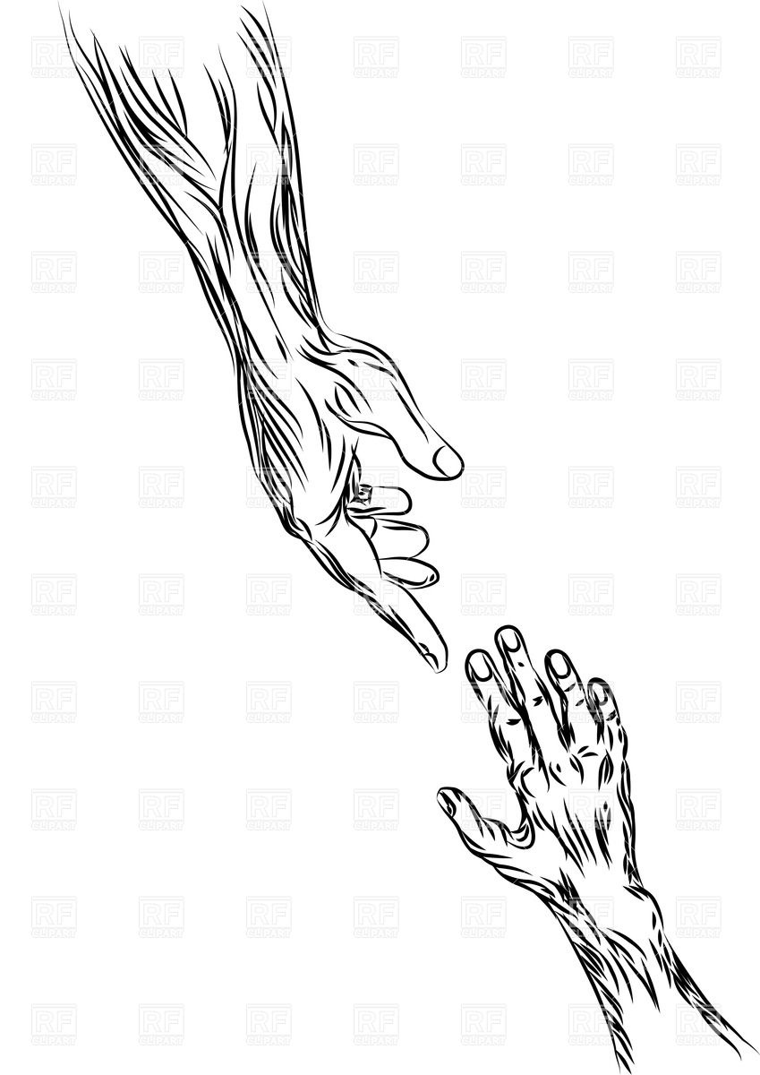 849x1200 Helping Hand Outlines Royalty Free Vector Clip Art Image