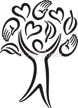 307x425 Caring Tree Stock Art Illustration