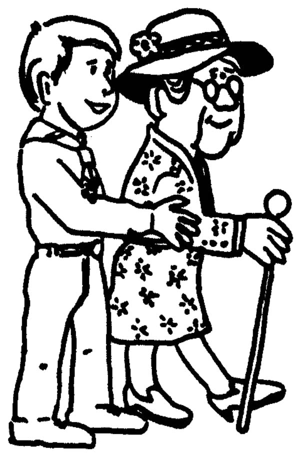 600x911 Helping Others Walking Grandmother To Park Coloring Pages Helping