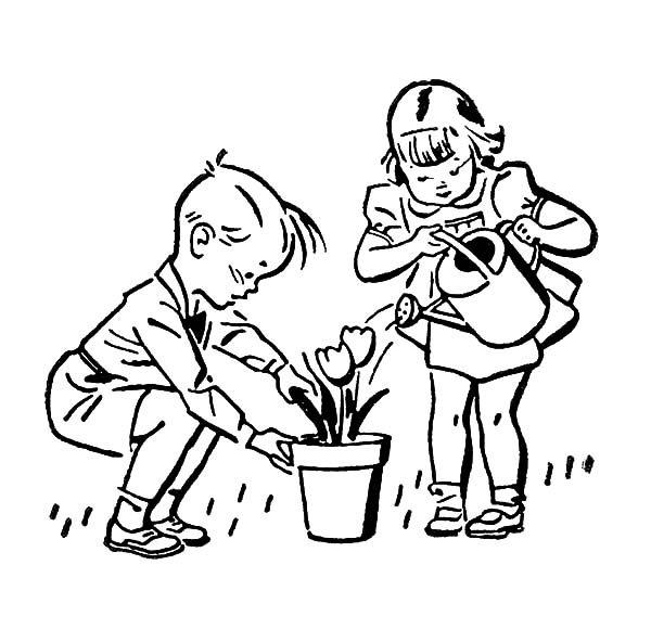 600x592 Helping Others Watering Beautiful Flower Coloring Pages Coloring Sky