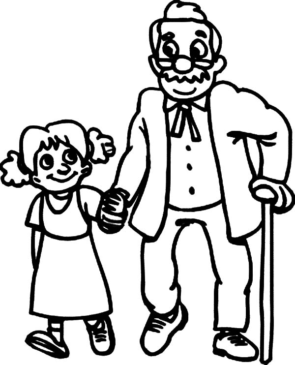 600x742 Walking With Oldies Helping Others Coloring Pages