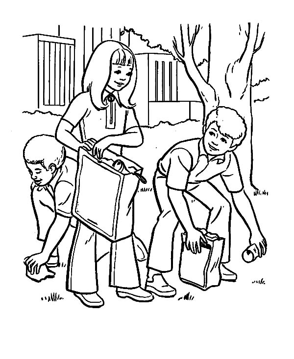 600x734 Earth Day Cleaning Park Helping Others Coloring Pages Earth Day