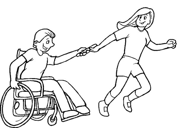 600x431 Helping Boy With Disability On Wheelchair Coloring Page Bored