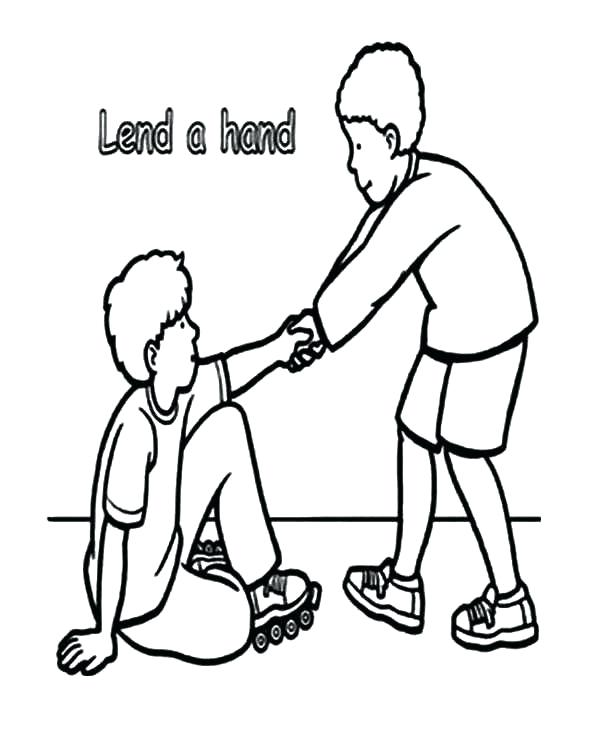 600x753 Helping Others Coloring Pages Children Helping Other Black