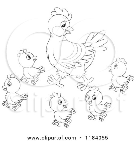 450x470 Cartoon Of An Outlined Mother Hen And Baby Chicks