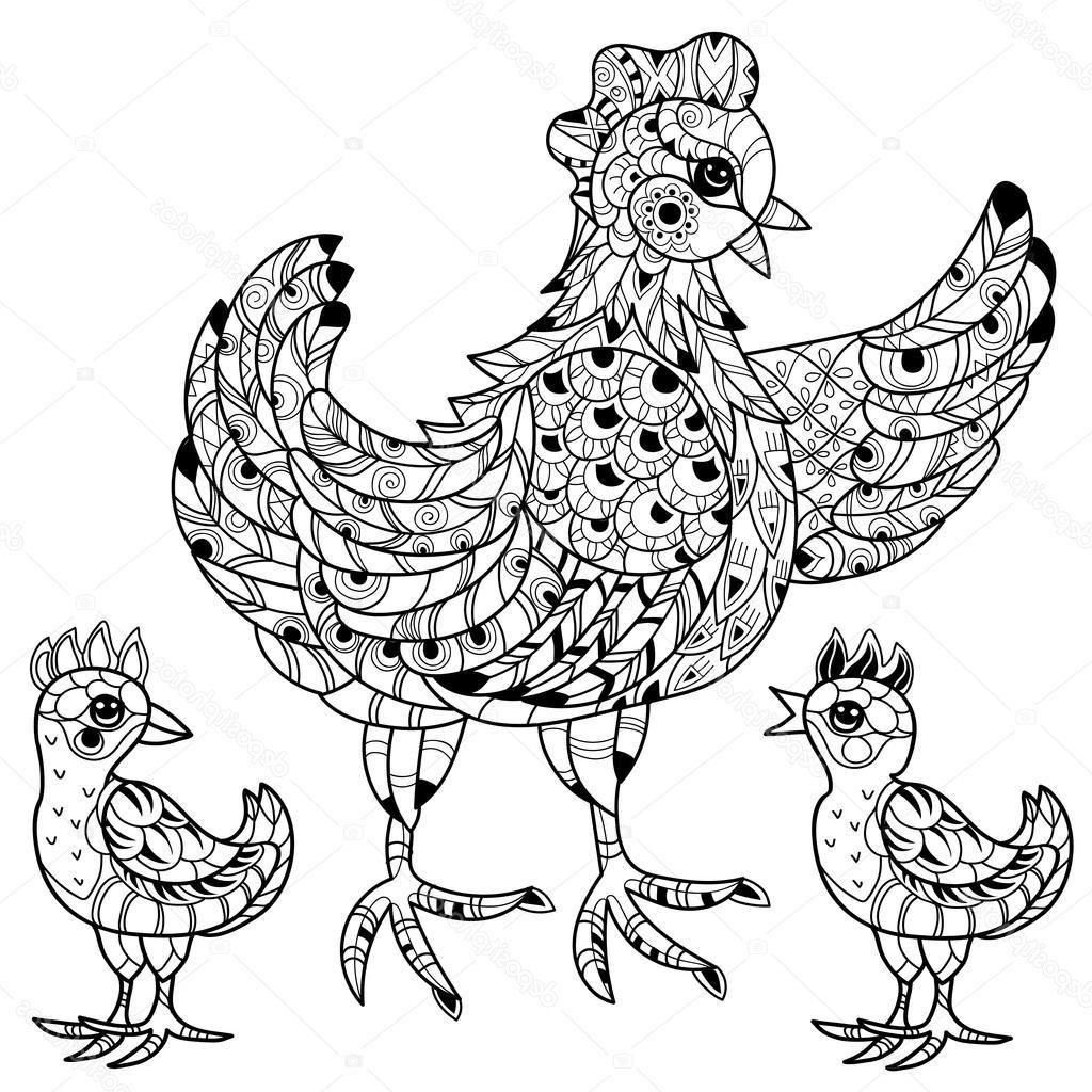 1024x1024 Best Free Stock Illustration Hen Hand Drawn Decorative Farm