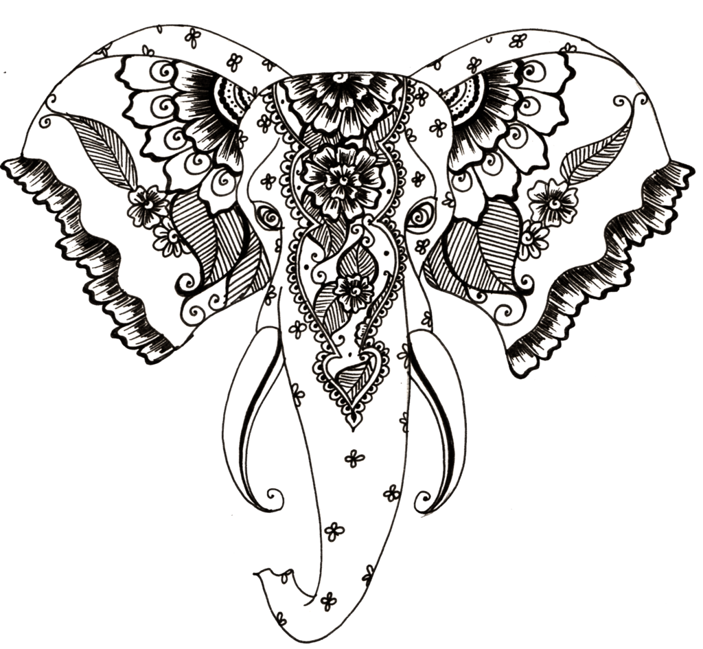 1024x945 Henna Style Elephant Tattoo Transparent Png