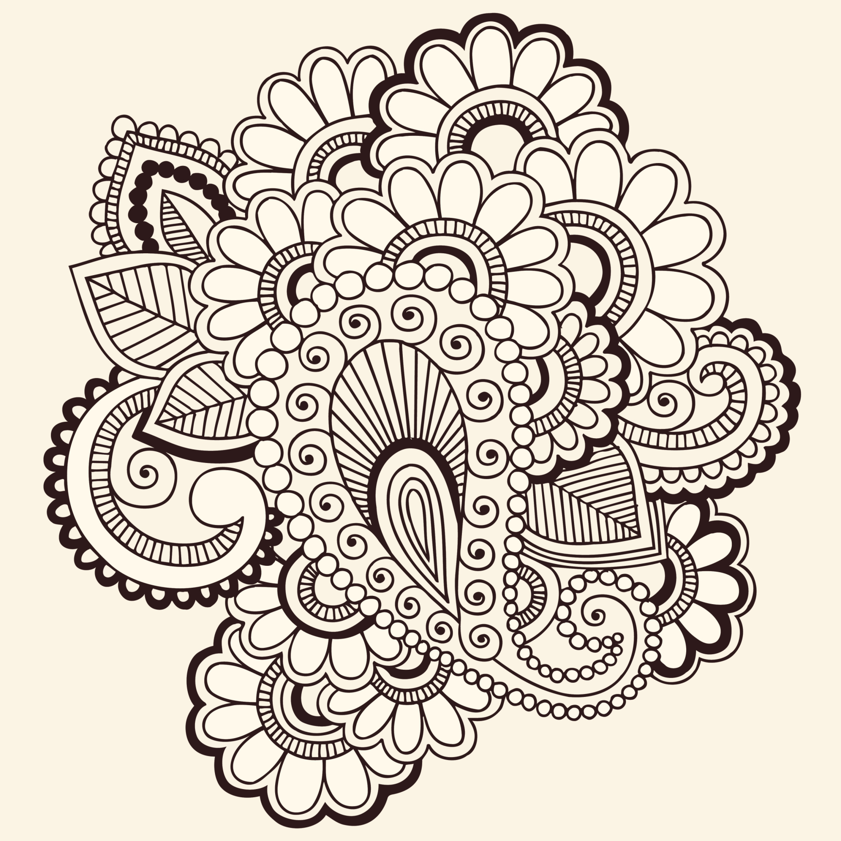 Henna Tattoo Muster Elefant. Free Seamless Pattern Mehndi Borders In ...
