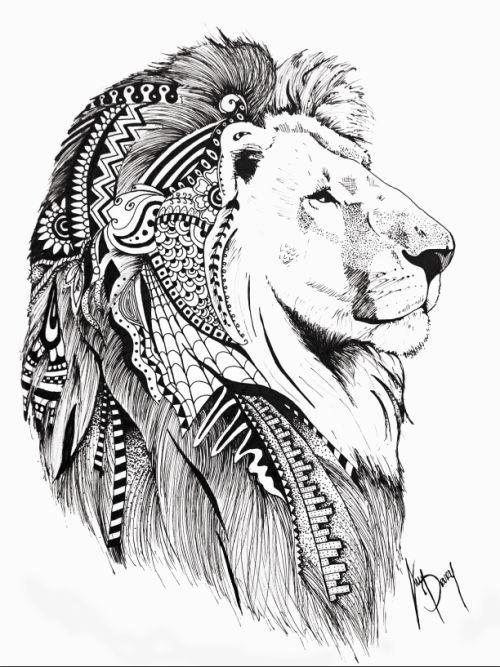 500x667 Mehndi Lion Tattoos