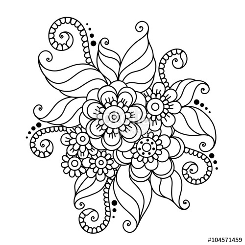 500x500 Hand Drawn Abstract Henna Mehndi Flower Ornament Stock Image