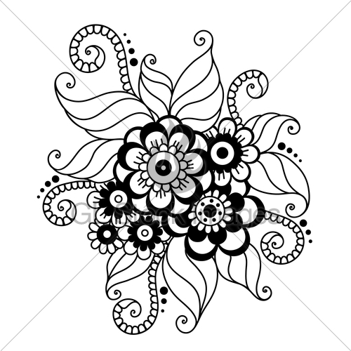 500x500 Hand Drawn Abstract Henna Mehndi Flower Ornament Gl Stock Images