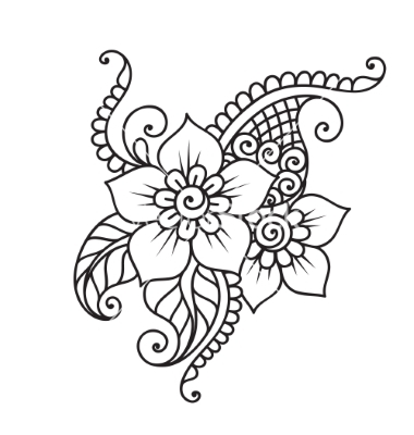380x400 Handdrawn Abstract Henna Mehndi Flower Ornament Vector By Iktash