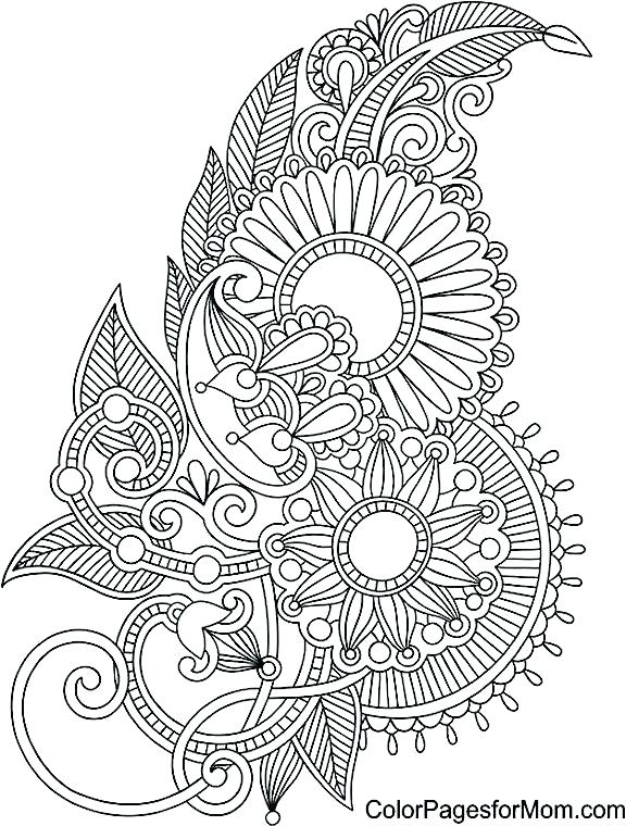 576x760 Henna Coloring Pages Coloring Pages Paisley Coloring Page Mas