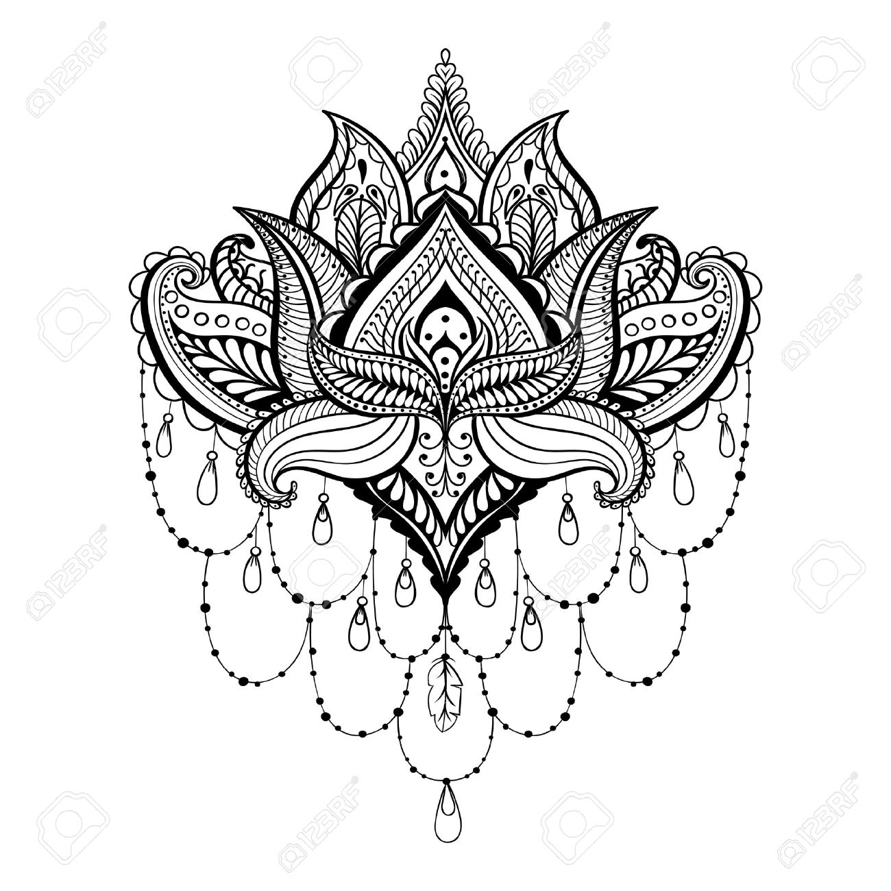 1300x1300 Vector Ornamental Lotus, Ethnic Zentangled Henna Tattoo, Patterned
