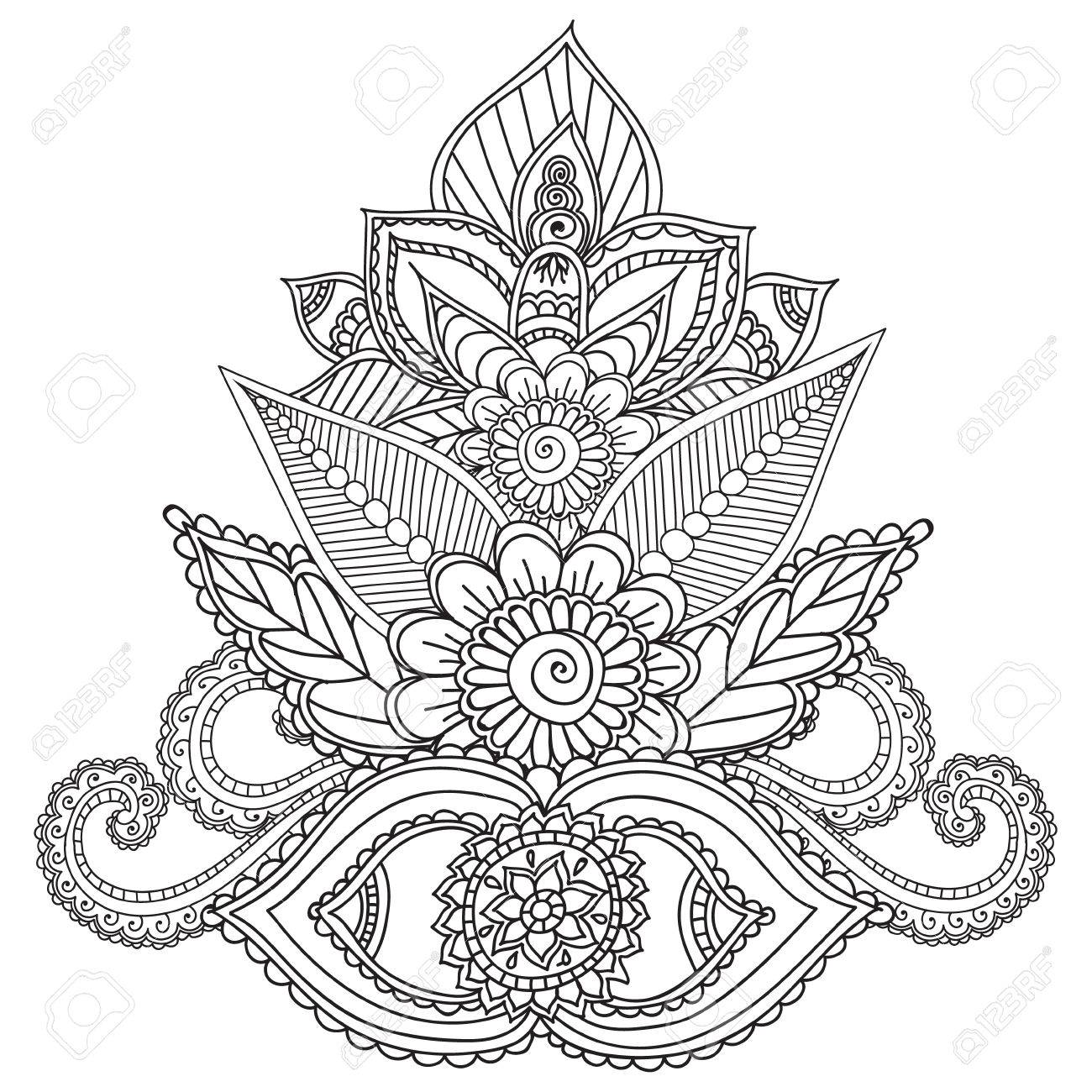 1300x1300 Coloring Pages For Adults. Henna Mehndi Doodles Abstract Floral