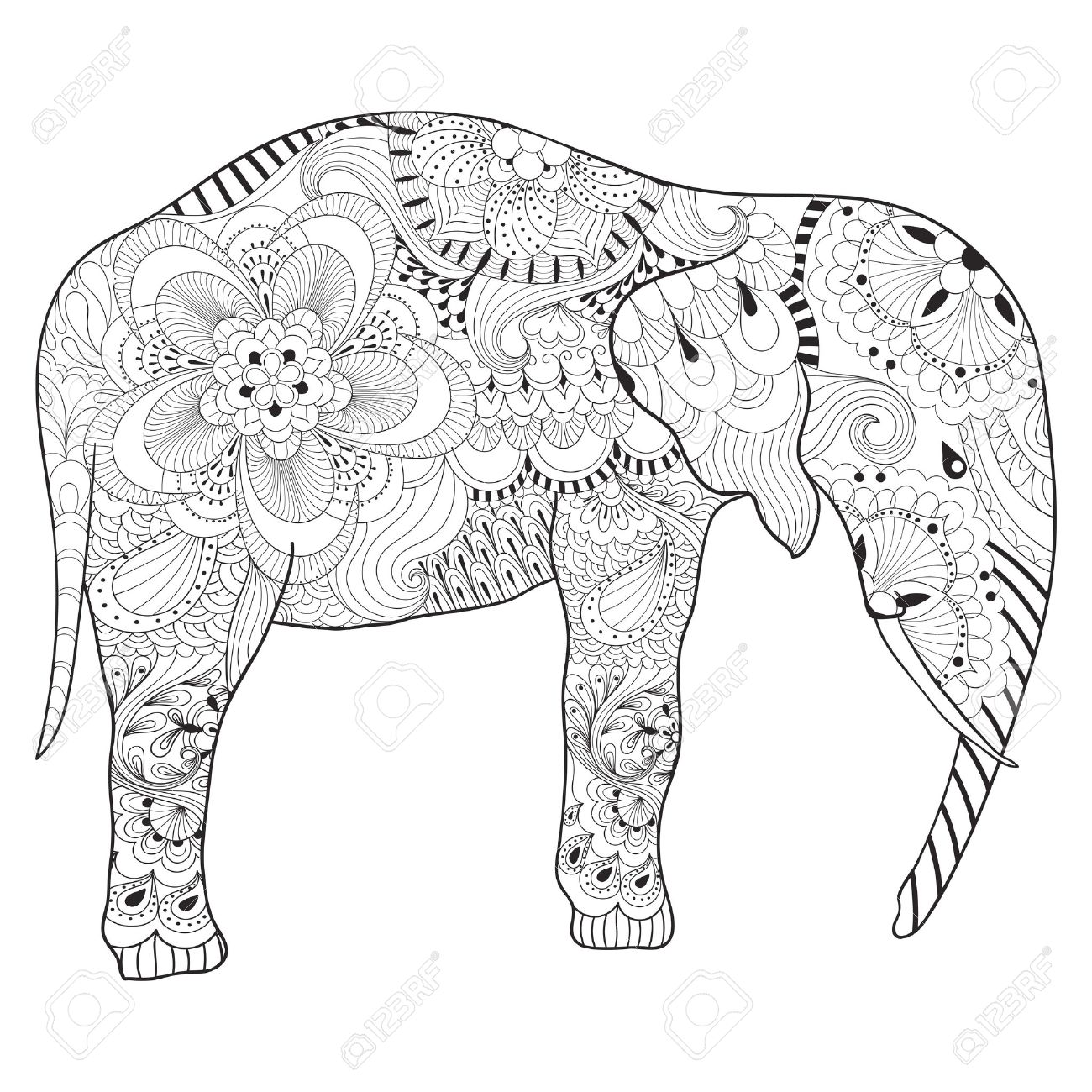 1300x1300 Hand Drawn Elephant With Mandala For Adult Antistress Coloring