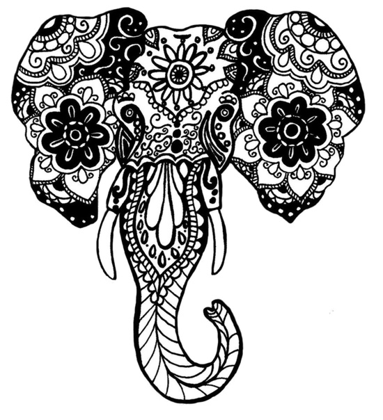 550x604 Henna Drawings Elephant