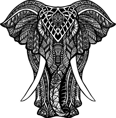 439x450 Black And White Tribal Pattern Elephant Drawing Vinyl