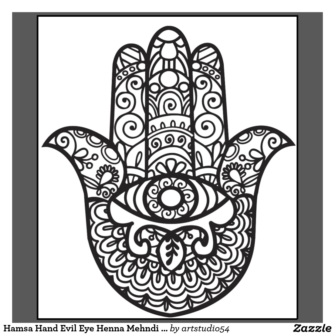 1104x1104 Hamsa Hand Evil Eye Henna Mehndi Style T Shirt Zazzle Tattoo