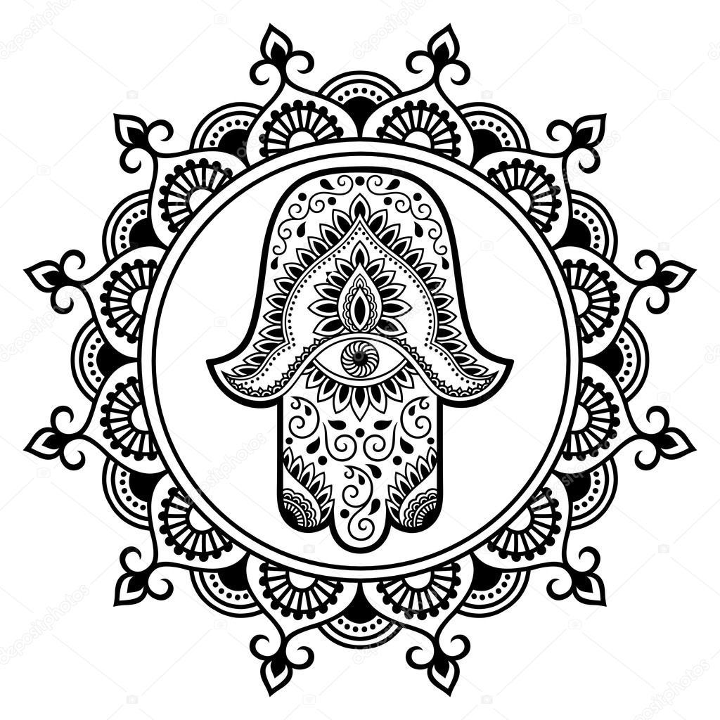 1024x1024 Hamsa Hand Drawn Symbol In Mandala. Mehndi Style.decorative