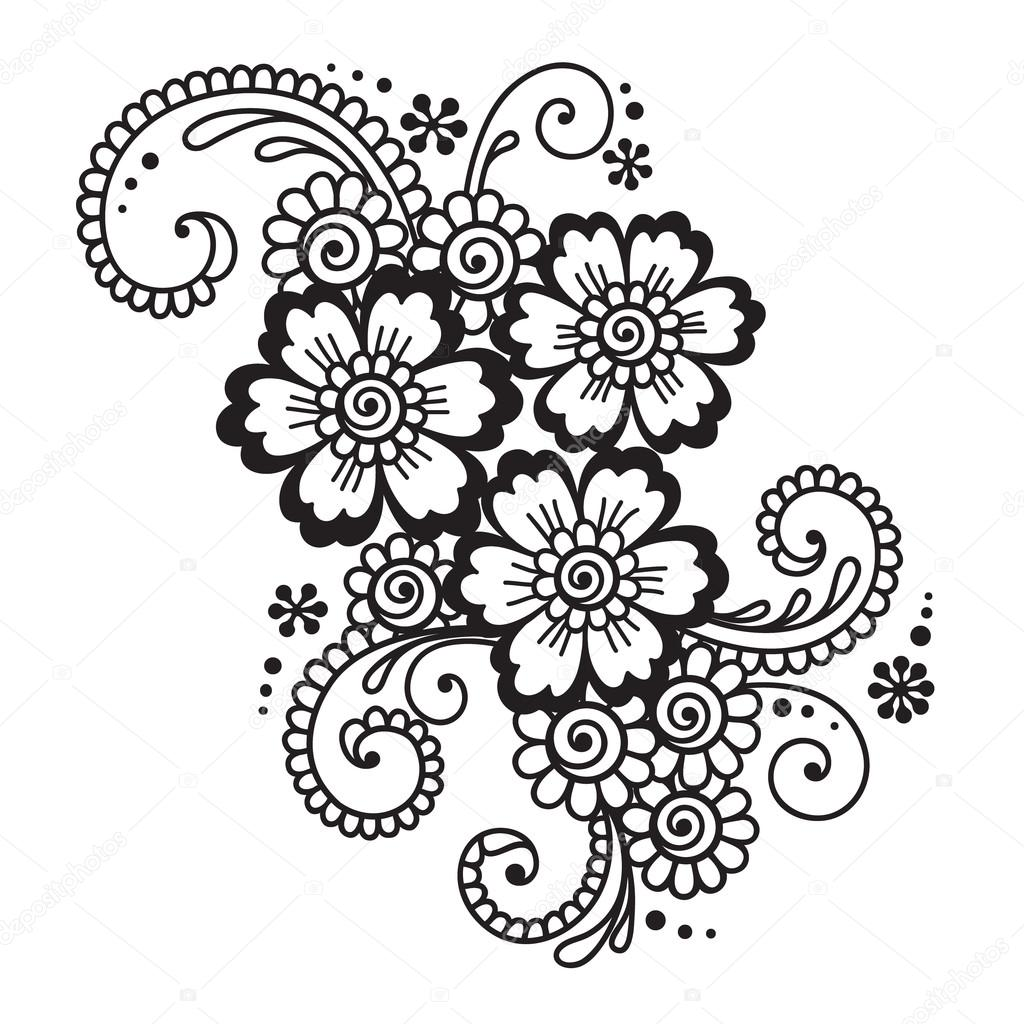 1024x1024 Hand Drawn Abstract Henna Mehndi Flower Ornament Stock Vector