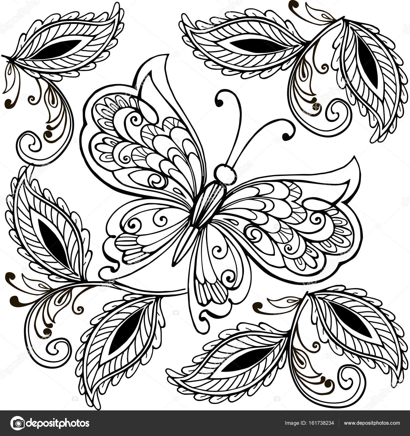 1599x1700 Hand Drawn Butterfly And Decorative Leaves Adult Anti Stress