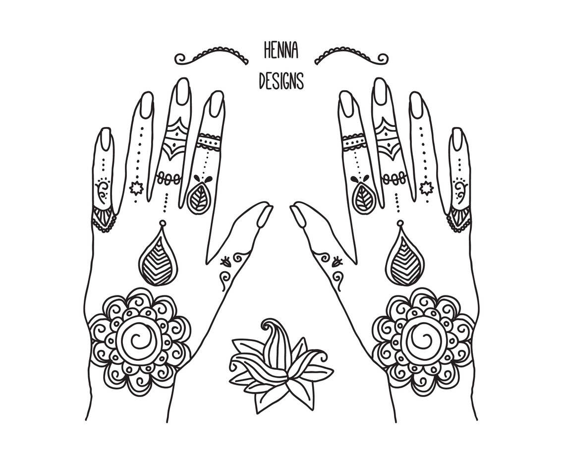 1136x936 Hands With Henna Tattoos Vector Art Amp Graphics