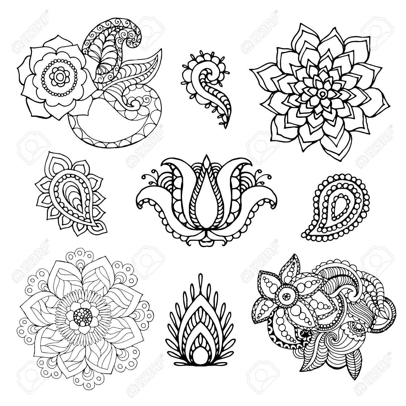 1300x1300 Henna Doodle Vector Elements. Ethnic Floral Zentangle Black White