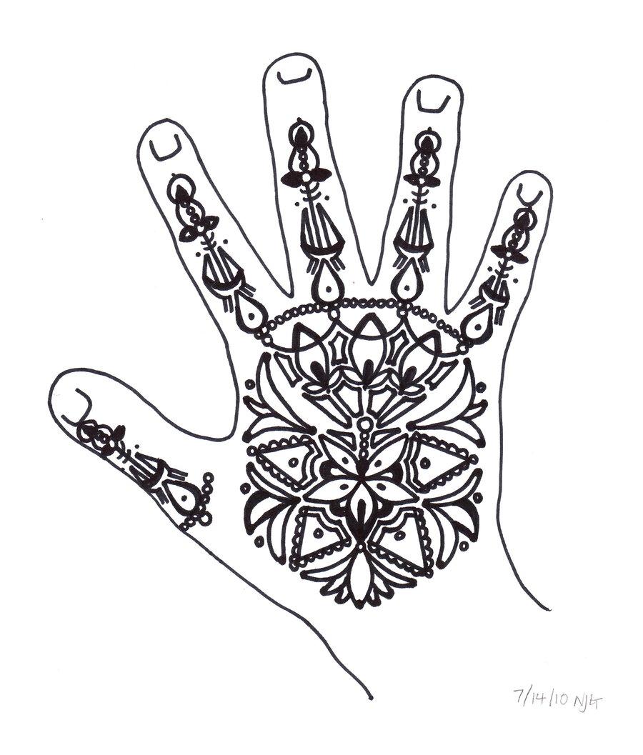 900x1057 Henna Hand Drawing