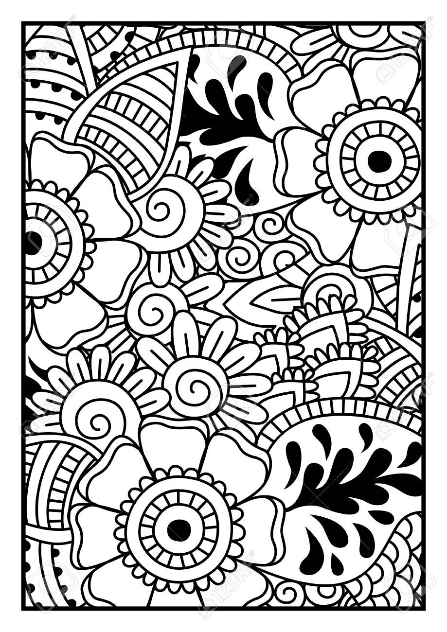 919x1300 Black And White Pattern. Ethnic Henna Hand Drawn Background