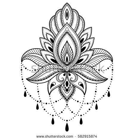 450x470 Drawn Lotus Henna Style
