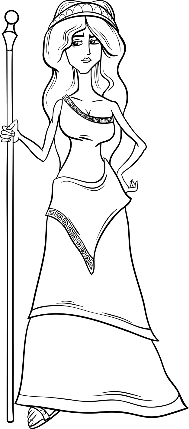626x1418 Greek Goddess Hera Coloring Page Vector Premium Download