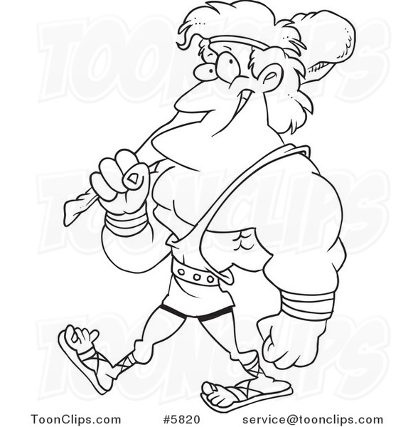 581x600 Cartoon Black And White Line Drawing Of Hercules Carrying A Club