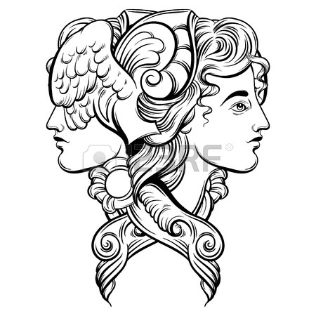 450x450 Vector Illustration Of Hermes. Hand Drawn Artwork With Portrait